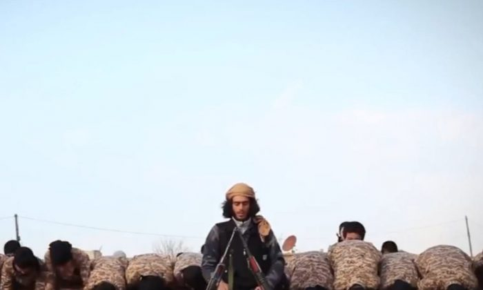 ISIS fighters in an undated propaganda video released by the terrorist group.