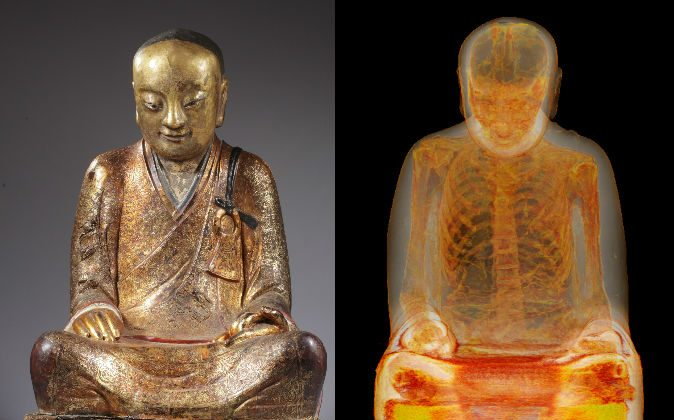 The mummy of Buddhist Master Liuquan, shown inside a Buddha statue via scans. (M. Elsevier Stokmans, Courtesy of Drents Museum)