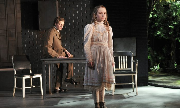 """Mr. Woodnut (Ben Rosenfield) enters the virtual reality world of the Hideaway where Iris (Sophia Anne Caruso) exists, in the new play """"The Nether"""" by Jennifer Haley. It is running at MCC Theatre. (Jenny Anderson)"""