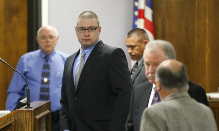 Eddie Ray Routh, who is accused of killing Chris Kyle and his friend Chad Littlefield, appears in court on the opening day of his capital murder trial in Stephenville, Texas, on Feb. 11.   (Tom Fox-Pool/Getty Images)