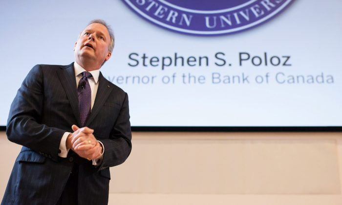 Bank of Canada Governor Stephen Poloz delivers a speech to students and business leaders at Western University's Ivey School of Business in London, Ont. on Feb. 24, 2015. (The Canadian Press/ Mark Spowart)