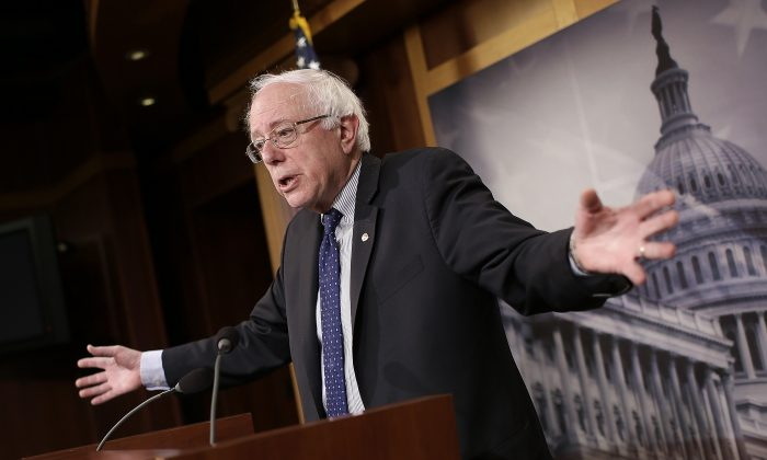 Sen. Bernie Sanders (I-Vt.) speaks about Social Security at the U.S. Capitol on Jan. 16, 2014. (Win McNamee/Getty Images)
