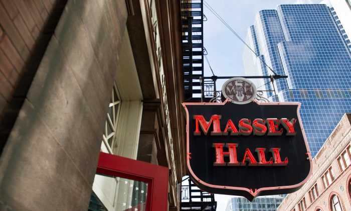 The exterior of Massey Hall. The auditorium, which is undergoing an extensive renovation, has been the site of several legendary live recordings. It was also the venue where Bob Dylan went electric for the first time with The Band in 1965. (The Canadian Press/Galit Rodan)