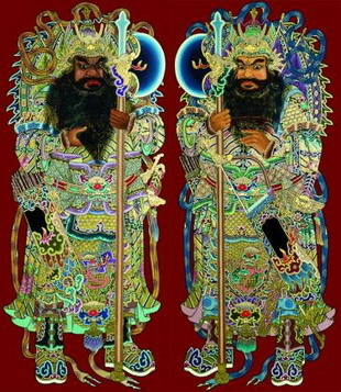 Two formidable door gods, elaborate representations that often adorn temples. (NTD Television)