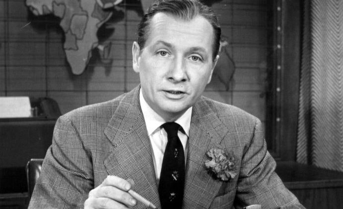 """NBC newscaster John Cameron Swayze was television's first """"anchor man"""" – though not for presenting the news. The term referred to his status as permanent panelist of the quiz show Who Said That? (Wikimedia Commons)"""