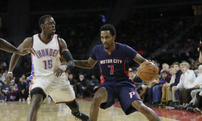 Brandon Jennings and Reggie Jackson faced off in December 2014, but are now teammates on the Detroit Pistons. The question is, will the team try to play the two together next season when Jennings returns from injury, or try to deal the point guard? (AP Photo/Duane Burleson)