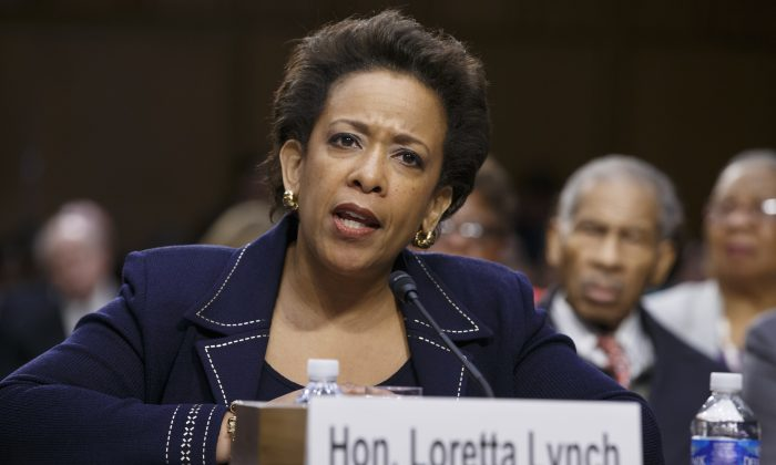 U.S. attorney general nominee Loretta Lynch testifies at a confirmation hearing before the U.S. Senate Judiciary Committee on Capitol Hill in Washington, D.C., on Wednesday, Jan. 28, 2015.  (AP Photo/J. Scott Applewhite)