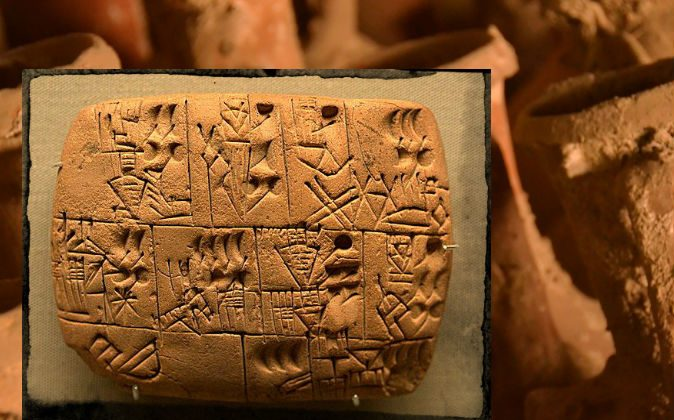 Proto-cuneiform recording the allocation of beer, probably from southern Iraq, Late Prehistoric period, about 3100–3000 B.C. (Jim Kuhn/Wikimedia Commons) Background: Collection of roman amphora, clay vases used for transporting liquids, such as wine or oil. (Shutterstock*)