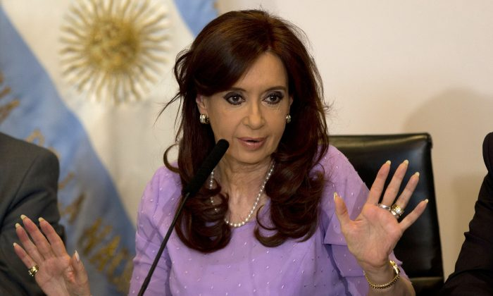 In this Feb. 11, 2015 file photo, Argentina's President Cristina Fernandez speaks during an event announcing new government projects at the government palace Casa Rosada, in Buenos Aires, Argentina. (AP Photo/Rodrigo Abd)