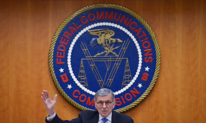 Federal Communications Commission Chairman Tom Wheeler speaks during a FCC hearing on the net neutrality in Washington on Feb 26, 2015. (MANDEL NGAN/AFP/Getty Images)
