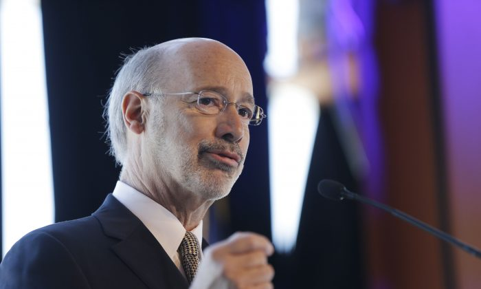 File picture of Gov. Tom Wolf at MusikFest Café in Bethlehem, Pa., on Wednesday, Feb. 25, 2015. (AP Photo/Matt Rourke)