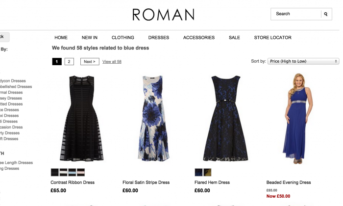 A screenshot of the Romans Originals website, which sells the dress in question.