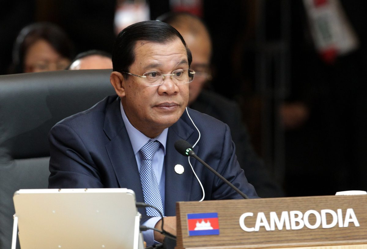 Cambodia's Prime Minister Hun Sen attends the formal session of the ASEAN-Republic of Korea Commemorative Summit in Busan on Dec. 12, 2014. (Ahn Young-joon/AFP/Getty Images)
