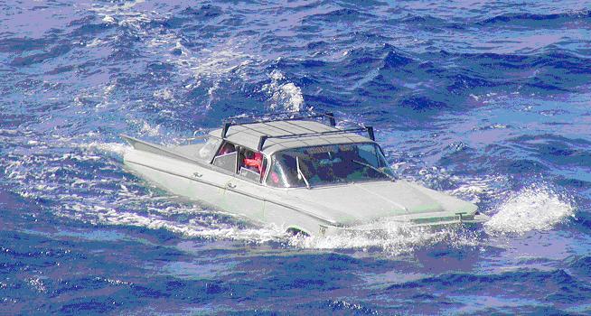 U.S. Coast Guard interdicts 11 migrants in a 1959 Buick sedan in the Straits of Florida, Feb. 2004. (U.S. Coast Guard)