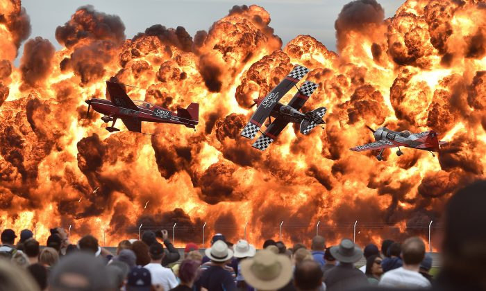 MARCH 1: Acrobatic pilots perform on the first public day of the Australian International Airshow at the Avalon Airfield southwest of Melbourne on Feb. 27, 2015. (Paul Crock/AFP/Getty Images)