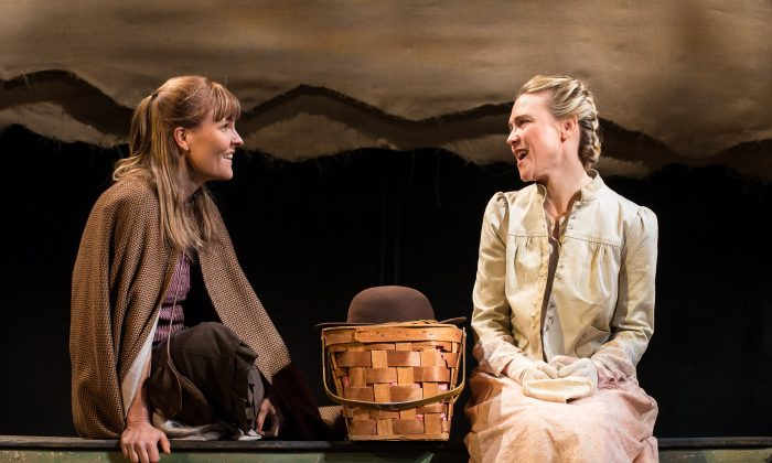 """Macon Hill (Kelly McAndrew) and Bess Johnson (Tracy Middendorf) bond over their shared fates as mail-order brides, in Beth Henley's new play """"Abundance."""" (Marielle Solan Photograph)"""