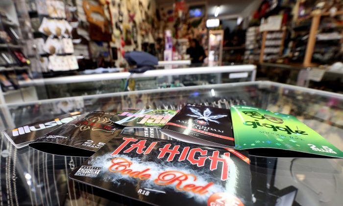 A collection of synthetic cannabis product lay on the counter on May 7, 2014, in a store in Auckland, New Zealand. Legislators around the world are trying to find ways to regulate synthetic drugs. (Jason Oxenham/Getty Images)