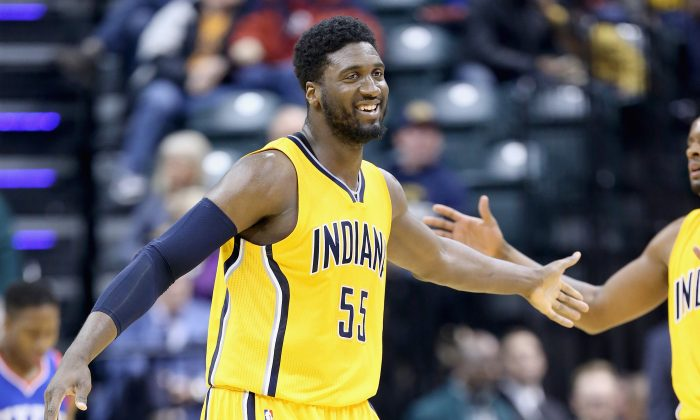 Roy Hibbert of the Indiana Pacers celebrates during the game against the Philadelphia 76ers at Bankers Life Fieldhouse on March 1, 2015 in Indianapolis, Indiana. (Photo by Andy Lyons/Getty Images)