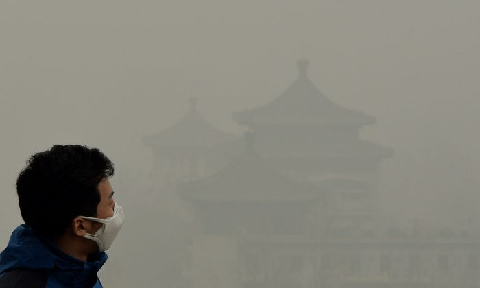 A tourist wearing a face mask climbs Jingshan Hill beside the Forbidden City as heavy air pollution continues to shroud Beijing on February 26, 2014. (Mark Ralston/AFP/Getty Images)