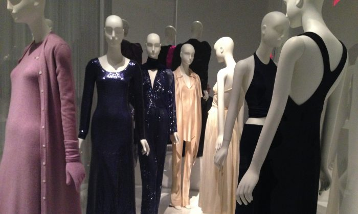 "The creations of American designer Roy Halston as part of ""Yves Saint Laurent + Halston: Fashioning the 70s"" exhibition at The Museum at FIT. (Kati Vereshaka/Epoch Times)"