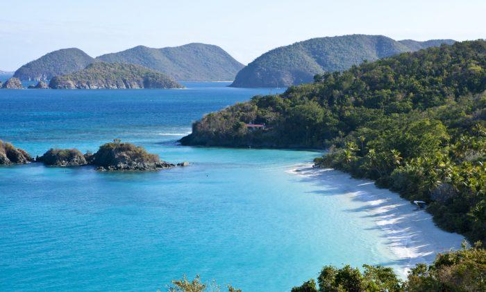 low aerial view of trunk bay, US Virgin Islands via Shutterstock*