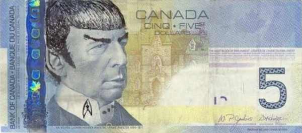 'Mr. Spock'  on Canadian Currency