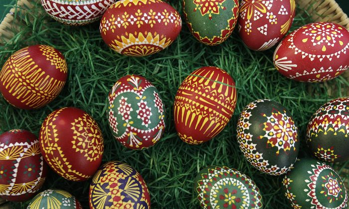 Hand-painted Easter eggs are displayed for sale in the eastern German village of Schleife, April 8, 2009. A goose feather is used to decorate the eggs with wax, which are then dipped into dye several times in this traditional painting method by members of the Slavic ethnic minority community of Sorbs. Each colour that is applied takes one hour. (REUTERS/Tobias Schwarz)
