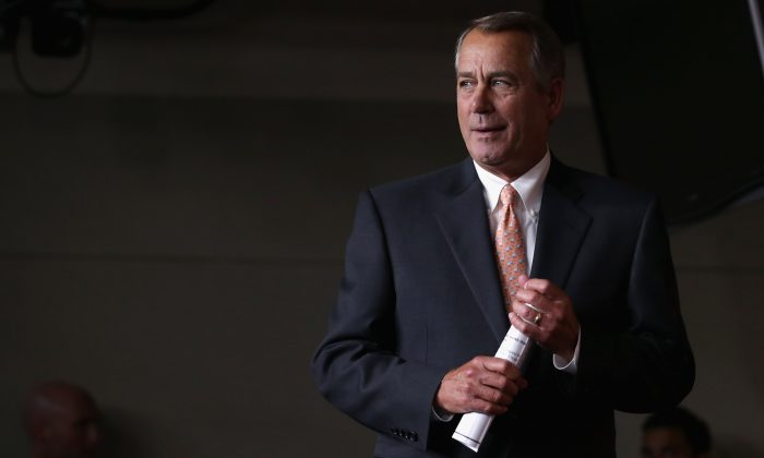 Speaker of the House John Boehner (R-Ohio.) arrives for his weekly news conference at the U.S. Capitol Visitors Center February 26, 2015 in Washington, DC. (Chip Somodevilla/Getty Images)