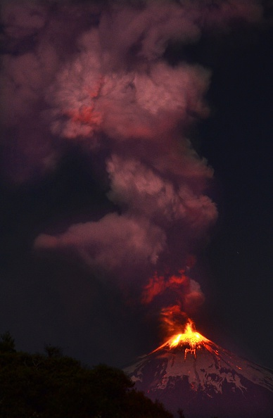 Picture of the Villarrica volcano, located near Villarrica 1200 km from Santiago, in southern Chile. (ARIEL MARINKOVIC/AFP/Getty Images)