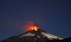 See Villarrica Volcano in Chile Erupt, Illuminating the Night Sky