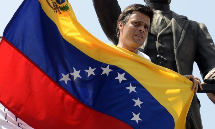 Leopoldo Lopez attends a protest in Caracas, Venezuela, on Feb. 18, 2014. (LEO RAMIREZ/AFP/Getty Images)