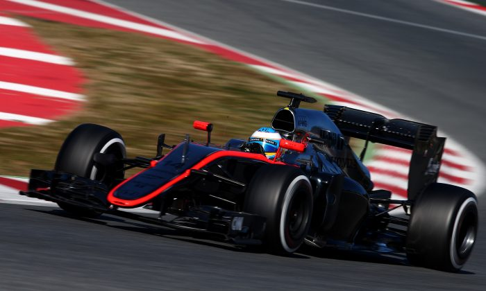 Fernando Alonso McLaren Honda drives during Day Four of Formula One Winter Testing at Circuit de Catalunya on February 22, 2015 in Montmelo, Spain. Alonso crashed 20 laps into the test session. (Dan Istitene/Getty Images)