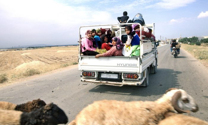 Above, refugees on the road to the Turkish border in Idlib Provence, Syria, in June 2012. (Shutterstock*)