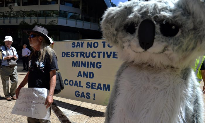 Protesters hold placards and banners during a rally against Whitehaven Coal in Sydney on February 20, 2014. (Saeed Khan/AFP/Getty Images)