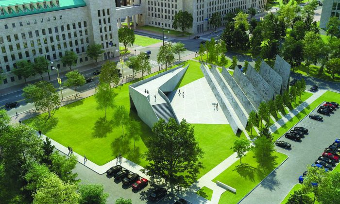 An artist's rendering of the National Memorial to Victims of Communism slated to be built this year. As controversy swirls over the location of the memorial, leading Chinese democracy activist Shen Xue says such a prominent spot is actually ideal. (ABSTRAKT Studio Architecture)