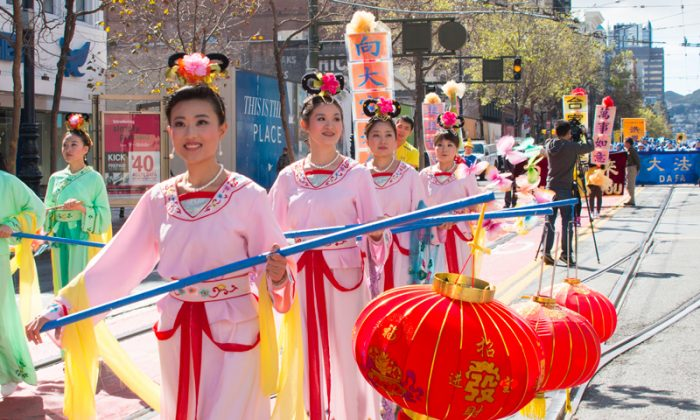 Falun Gong practitioners held a parade at downtown San Francisco to celebrate the new year on Feb. 28, 2015. Families of Falun Gong practitioners in China wrote online missives wishing the founder of Falun Gong a happy New Year during the Lantern Festival. (Zhou Rong/Epoch Times)