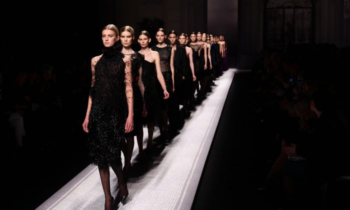 Models walk the runway at the Alberta Ferretti Autumn/Winter 2012/2013 fashion show as part of Milan Womenswear Fashion Week in Milan, Italy, on Feb. 22, 2012. (Vittorio Zunino Celotto/Getty Images)
