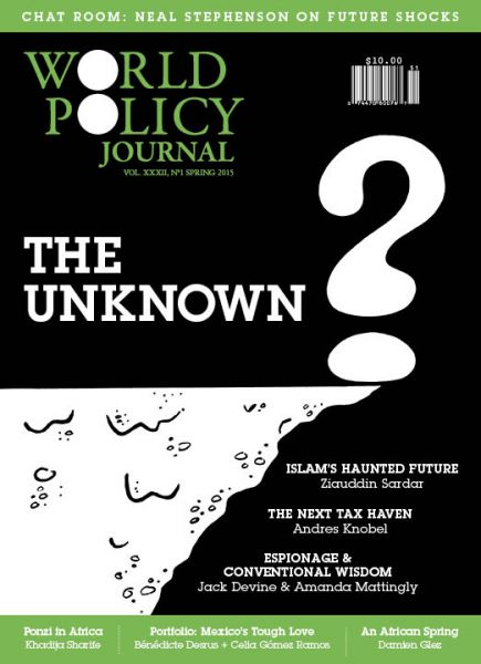 The cover of the spring edition of the World Policy Journal, the World Policy Institute's flagship publication. The topics covered in the issue range from espionage to the next tax haven. (Courtesy of World Policy Journal)