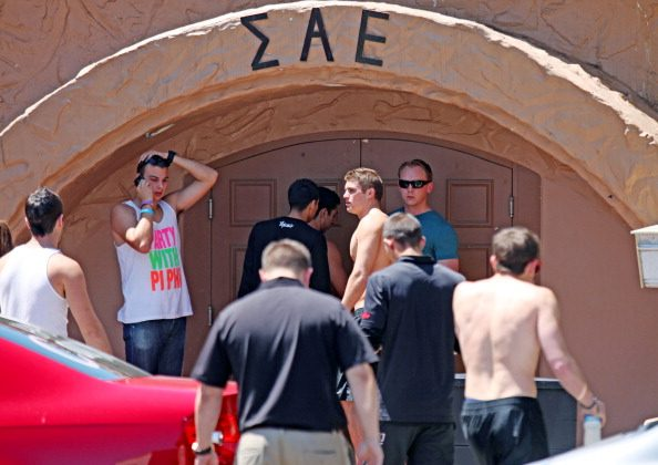 Students outside of the Sigma Alpha Epsilon Fraternity near San Diego State University on April 20, 2012. (Sandy Huffaker/Getty Images)