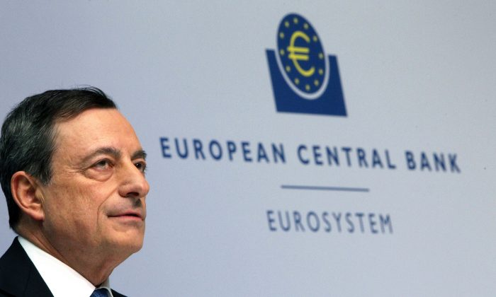 Mario Draghi, president of the European Central Bank, during a press conference following the meeting of the Governing Council in Frankfurt, western Germany, on Jan. 22, 2015. (Daniel Roland/AFP/Getty Images)