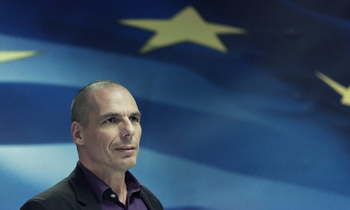 Greece's Finance Minister Yanis Varoufakis looks on during a press conference in Athens, on Wednesday, March 4, 2015. (AP Photo/Petros Giannakouris)