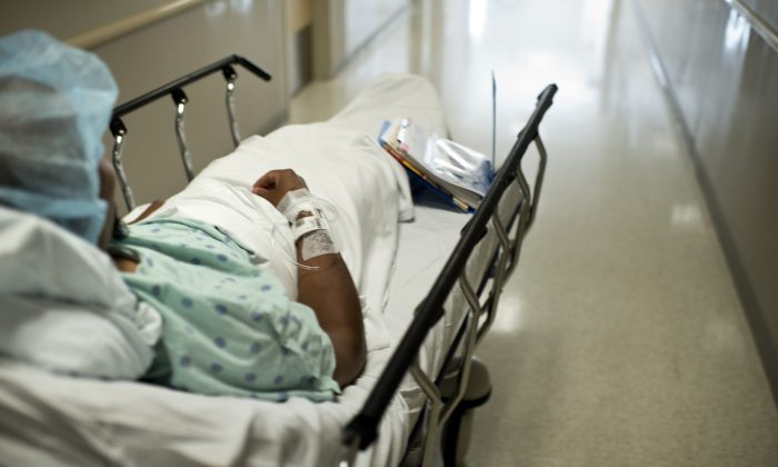 A patient at Johns Hopkins Hospital in Baltimore, Md., on June 26, 2012. (Brendan Smialowski/AFP/Getty Images)