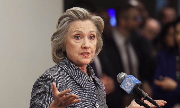 Hillary Clinton answers questions from reporters March 10, 2015 at the United Nations in New York. (Don Emmert/AFP/Getty Images)