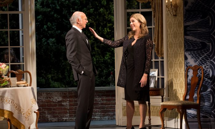 "Norman (Larry David) and Brenda (Rita Wilson) Drexel await the death of Norman's father, in David's rollicking farce ""Fish in the Dark."" (Joan Marcus)"