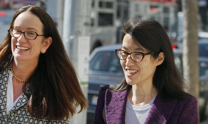 In this Feb. 24, 2015, file photo, Ellen Pao, right, leaves the Civic Center Courthouse along with her attorney, Therese Lawless, left, during a lunch break in her trial in San Francisco. Plaintiff Pao testified Monday, March 9, 2015, that female employees were treated disrespectfully at the firm of Kleiner Perkins Caufield & Byers, and some were not even invited, when the company held a series of events. Pao also told the jury at the civil trial that she complained to management about the atmosphere at Kleiner Perkins Caufield & Byers after learning a female colleague had complained about alleged sexual harassment. The investigator hired by the firm to investigate Pao's complaint concluded there was no gender discrimination at the firm. (AP Photo/Eric Risberg, File)