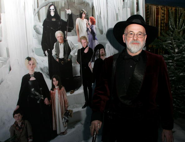 """Author Terry Pratchett arrives at the world television premiere of """"Hogfather"""" at the Curzon Mayfair on November 27, 2006 in London, England.  (Photo by Getty Images)"""