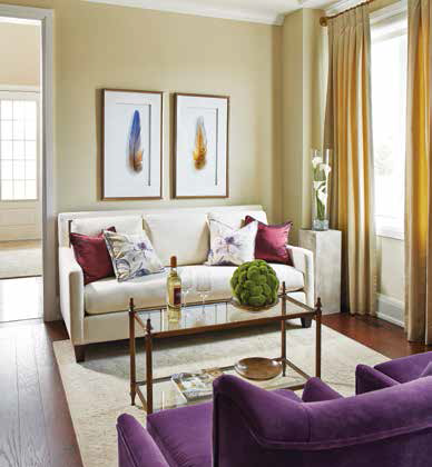 Splurge on custom furniture for a small living room to get the perfect size and colour to fit the space. (Paul Chmielowiec)