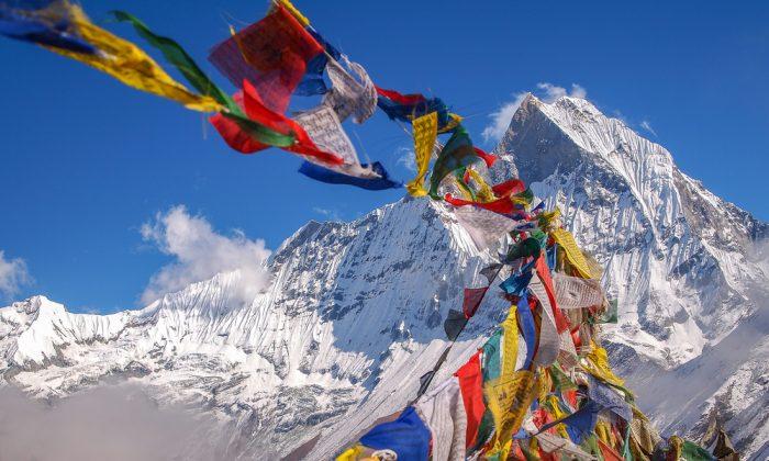 Tibetan Flags at Annapurna Base Camp 4200m Himalaya via Shutterstock*