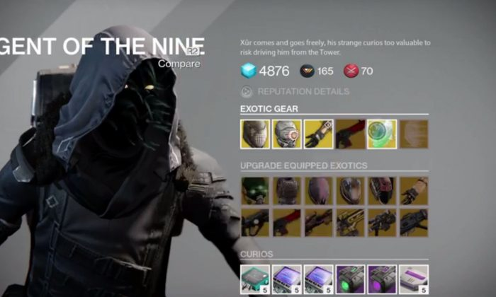 The location for Destiny's Agent of the Nine, Xur, was revealed Friday (March 13) as well as the items.  (Destiny screenshot)
