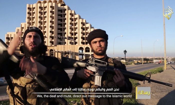 ISIS is looking to recruit deaf people to fight amongst its ranks, evidenced by a new propaganda video that's only in sign-language. (Screenshot of ISIS video/Epoch Times)